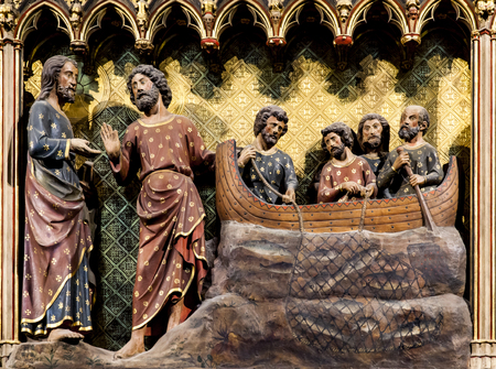 Appearance to the Apostles by Lake Tiberias from Cathedrale Notre Dame de Paris, France Stock Photo - 81749667