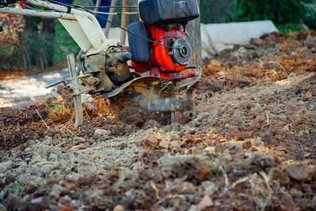 Closeup of the cultivating soil in the garden Stock Photo
