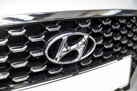 BELGRADE, SERBIA - MARCH 28, 2017: Detail from Hyundi car in Belgrade, Serbia.Hyundai is South Korean multinational automotive manufacturer headquartered in Seoul