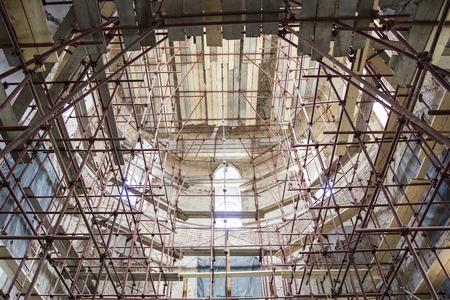 Closeup view at the church renovation site