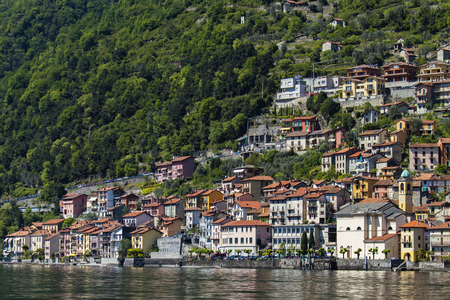 View at town Colonno on Como lake in Italy