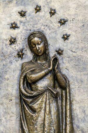 Exterior detail from Santa Maria Immacolata delle Grazie church in Bergamo, Italy Stock fotó