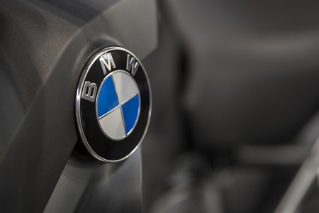 BELGRADE, SERBIA - MARCH 28, 2017: Detail of the BMW car. BMW is a German luxury vehicle, motorcycle and engine manufacturing company founded in 1916