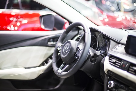 BELGRADE, SERBIA - MARCH 28, 2017: Interior of Mazda car in Belgrade, Serbia. Mazda is Japanese multinational automaker founded at 1920.