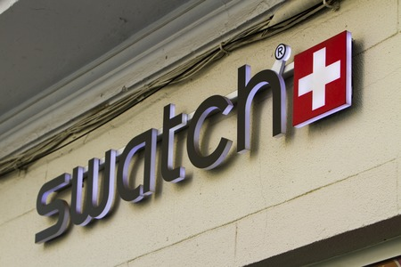 MADRID, SPAIN - MARCH 17, 2016: Detail of the Swatch store in Madrid, Spain. Swatch is watch manufacturing company founded at 1983.