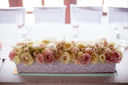 Closeup detail of the flower wedding decoration Stock Photo