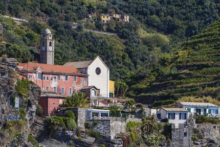 View at the town Vernazza on Cinque Terre at Ligurian sea in Italy Stock Photo
