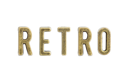 Set of the vintage copper letters forming word retro isolated on the white background 版權商用圖片