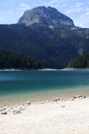 View at Black Lake on Durmitor mountain in Montenegro Stok Fotoğraf