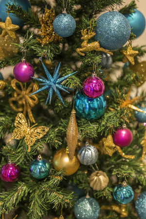 Close up view at Christmas tree with ornaments