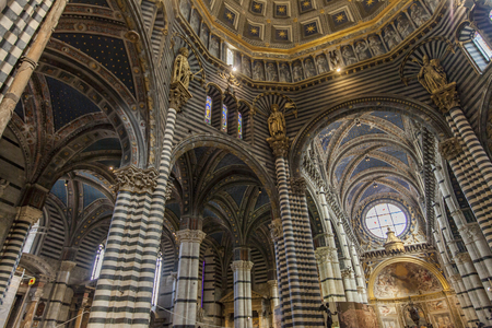Interior of the Siena cathedral in Italy. Siena cathedral is dedicated to the Assumption of Mary