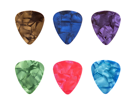 Set of guitar picks isolated on the white background 版權商用圖片