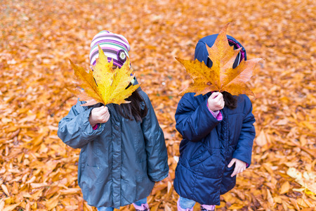 Little girls with a hidden face with a maple leaf in an autumn park at rainy day