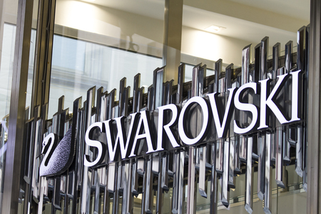 MILAN, ITALY - APRIL 24, 2017: Detail of the Swarovski store in Milan, Italy.  It is an Austrian producer of luxury cut lead glass (crystal), founded at 1895. Editorial