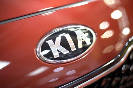 BELGRADE, SERBIA - MARCH 28, 2017: Detail of Kia car in Belgrade, Serbia. Kia Motor Corporation is South Korea second largest automobile manufacturer Фото со стока - 85872735