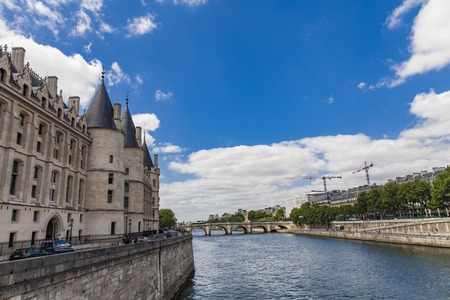 View at Conciergerie by the Seine river in Paris, France