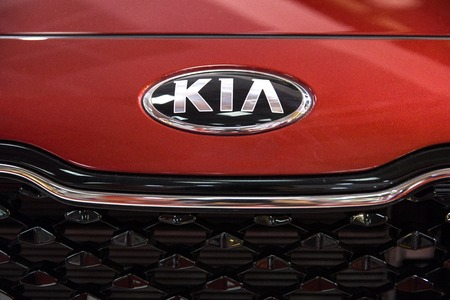 BELGRADE, SERBIA - MARCH 28, 2017: Detail of Kia car in Belgrade, Serbia. Kia Motor Corporation is South Korea second largest automobile manufacturer Фото со стока - 86123221