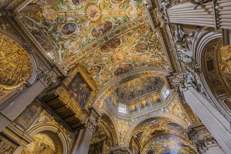 BERGAMO, ITALY - APRIL 28, 2017: Interior of Duomo di Bergamo in Italy. This cathedral is dedicated to Saint Alexander of Bergamo, patron saint of the city.