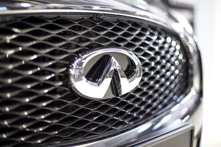 BELGRADE, SERBIA - MARCH 28, 2017: Detail of the infiniti car in Belgrade, Serbia. is the luxury vehicle division of Japanese automaker Nissan founded 1989.