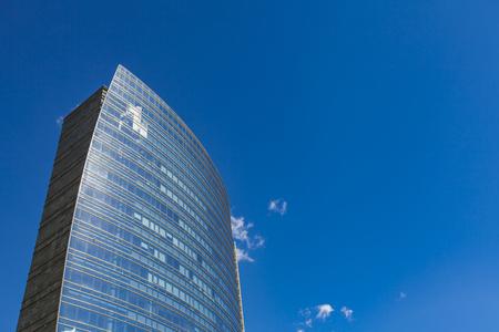 MILAN, ITALY - APRIL 28, 2017: Modern skyscraper at Porta Nuova in Milan, Italy. Porta Nuova is the main business district of Milan.
