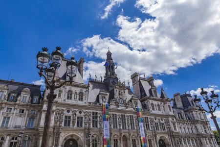 PARIS, FRANCE - JUNE 12, 2017: Detail of Hotel de Ville (City Hall) in Paris, France. It has been the headquarters of Paris municipality since 1357