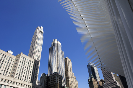 NEW YORK, UNITED STATES - AUGUST 30, 2017: Oculus, a mind-boggling glass-and-steel structure designed by Spanish architect Santiago Calatrava.