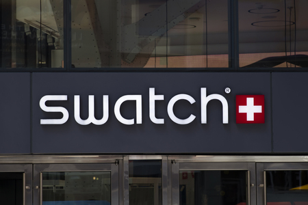 NEW YORK, USA - AUGUST 31, 2017: Detail of the Swatch store in New York, USA. Swatch is watch manufacturing company founded at 1983.