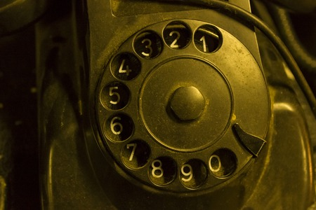 Closeup detail of the old vintage telephone device
