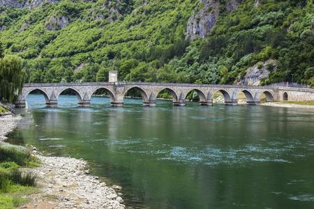 Mehmed Pasha Sokolovic Bridge on Drina river at Visegrad, Bosnia Stock Photo - 86800574