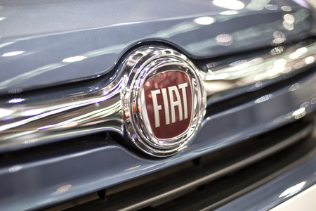 BELGRADE, SERBIA - MARCH 28, 2017: Detail of the Fiat car in Belgrade, Serbia. Fiat or Fabbrica Italiana Automobili Torino was founded in 1899. Editorial