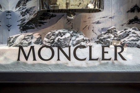 TOKYO, JAPAN - OCTOBER 2, 2016: Detail from Moncler store in Tokyo, Japan. Moncler is an Italian apparel manufacturer and lifestyle brand founded in 1952