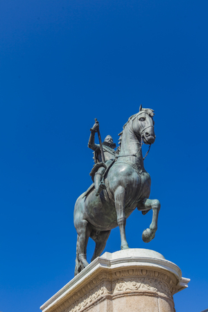 Monument to Philip III of Spain at the Plaza Mayor of Madrid, Spain