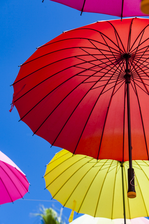 View at colorful umbrellas on a sunny day