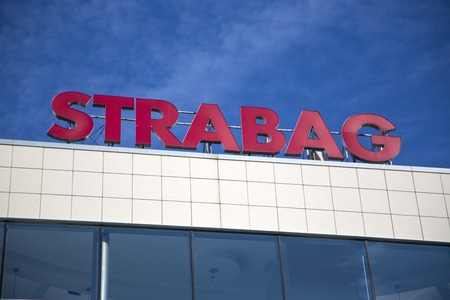 BELGRADE, SERBIA - AUGUST 28, 2014: Detail from Strabag building in Belgrade, Serbia. Strabag is a European construction company based in Villach, Austria, founded at 1835. Redakční