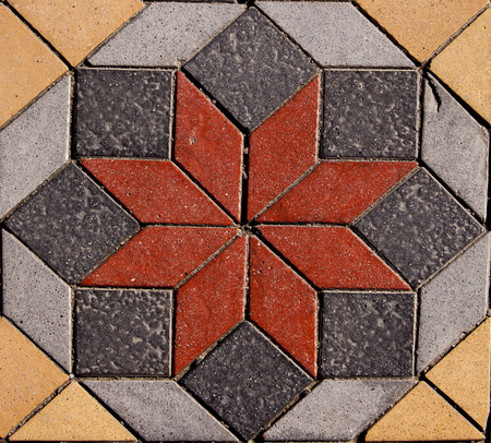 Detail of geometrical paving from Marmaris, Turkey
