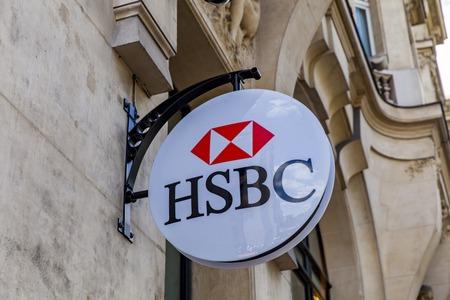 パリ、フランスの HSBC 銀行からパリ、フランス - 2017 年 6 月 16 日: 詳細。7500 を超えるオフィスと 85000 従業員最大の銀行と世界の金融サービス組織の