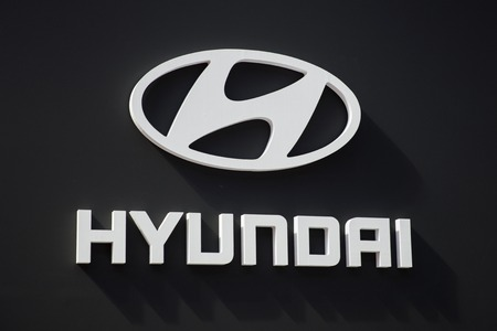 BELGRADE, SERBIA - MARCH 28, 2017: Detail from Hyundai logo in Belgrade, Serbia.Hyundai is South Korean multinational automotive manufacturer headquartered in Seoul Редакционное
