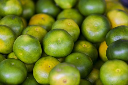 Sluit omhoog mening bij groene mandarin Stockfoto