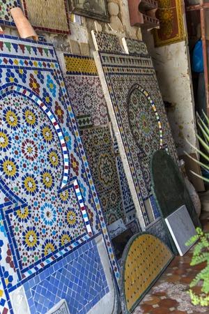 ラバトのモロッコタイルワークショップの詳細 写真素材