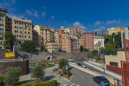 GENOA, ITALY - JUNE 2, 2015: Detail from the strets of Genoa, Italy. Genoa is sixth largest city in Italy. Editorial