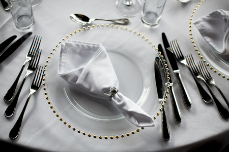 View at luxury wedding decoration of the table