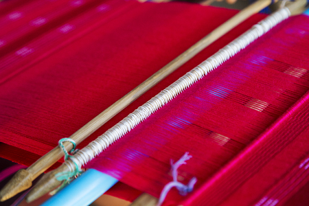 Detail of the traditional waving loom in Chiang Mai, Thailand