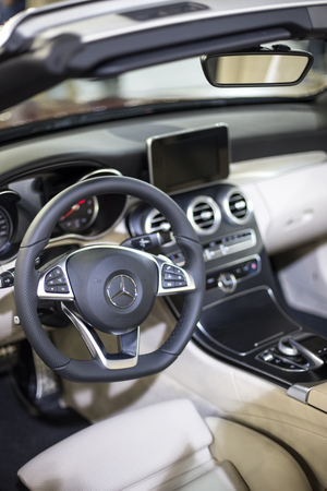 BELGRADE, SERBIA - MARCH 28, 2017: Interior of the Mercedes car in Belgrade, Serbia. Mercedes-Benz is a global automobile manufacturer founded at 1926.