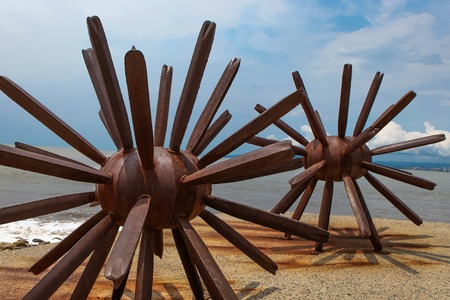 PUERTO VALLARTA, MEXICO - SEPTEMBER 6, 2015: Two Sea Urchins statues in Puerto Vallarta in Mexico. Sculpure was made by Blu (Maritza Vazquez) at 2007 Editorial