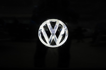BELGRADE, SERBIA - MARCH 28, 2017: Detail of Volkswagen logo in Belgrade, Serbia. Volkswagen is a German car manufacturer headquartered in Wolfsburg, Germany, established in 1937. Sajtókép