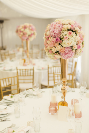 Closeup view of the luxurious wedding table decoration Stock Photo