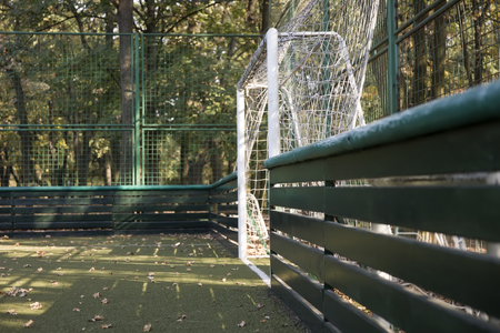 Empty small football field in the autumn Stock Photo