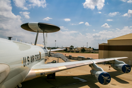 BARKSDALE, USA - APRIL 22, 2007: Boeing E-3 Sentry (AWACS) early warning and control aircraft at Barksdale Air Base. Since 1933, the base has been inviting the public to view aircrafts at the annual airshow.