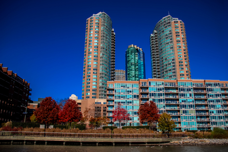 View from Hudson River Waterfront Walkway in Jersey City, United States