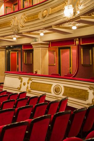 BELGRADE, SERBIA - OCTOBER 18, 2017: Interior of National Theatre in Belgrade, Serbia. Theatre was opened at 1869. Banco de Imagens